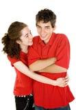 夫妇与青少年的痒感战斗 免版税图库摄影