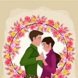 年轻夫妇为华伦泰` s天 库存图片