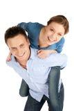 夫妇乐趣愉快的年轻人 免版税库存图片
