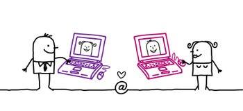 夫妇互联网 免版税库存照片