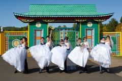 夫妇五愉快结婚 免版税库存图片