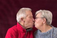 夫妇亲吻更旧 免版税库存照片