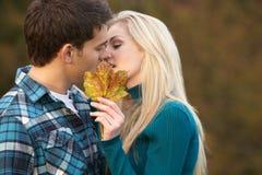 夫妇亲吻的浪漫少年 免版税库存照片