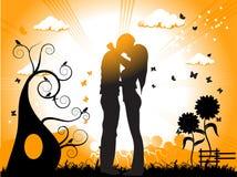 夫妇亲吻草甸 库存图片