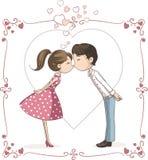 夫妇亲吻的传染媒介动画片 皇族释放例证