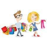 夫妇人乏味的妇女购物 免版税库存图片