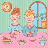 夫妇人妇女wuth茶 库存图片