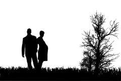 夫妇传染媒介剪影  免版税库存照片
