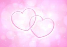 夫妇光滑的桃红色心脏 库存照片
