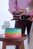 夫妇切开了蛋糕 免版税库存图片