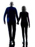 夫妇前辈走的背面图剪影 图库摄影