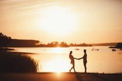 夫妇剪影在日落的 免版税库存图片