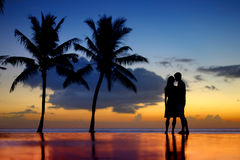 年轻夫妇剪影在风景日落的 免版税库存照片