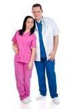 夫妇医生护士年轻人 免版税库存图片