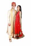 夫妇印第安传统穿戴 库存图片