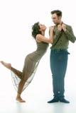年轻夫妇可笑的画象  免版税图库摄影
