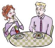 夫妇吃 库存图片