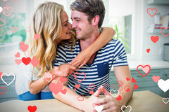 夫妇和华伦泰心脏3d的综合图象 免版税图库摄影