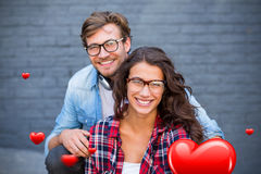夫妇和华伦泰心脏3d的综合图象 库存照片