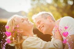 夫妇和华伦泰心脏3d的综合图象 免版税库存照片