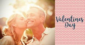 夫妇和华伦泰词的综合图象 免版税库存照片
