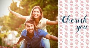 夫妇和华伦泰词的综合图象 免版税库存图片