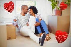 夫妇和心脏3d的综合图象 免版税库存图片