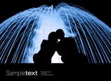 夫妇喷泉注意 库存照片