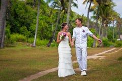 夫妇在棕榈树下 免版税图库摄影