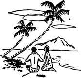夫妇在棕榈树下 皇族释放例证
