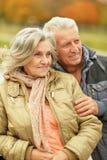夫妇在秋天公园 库存照片