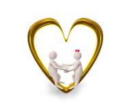 夫妇在金黄心脏 库存照片
