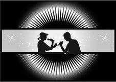夫妇场面歌唱家 免版税库存照片