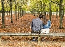 年轻夫妇坐一条长凳在一个公园在秋天 免版税库存图片