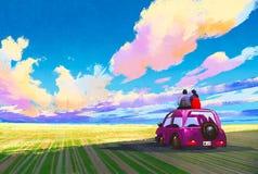 年轻夫妇坐在剧烈的风景前面的汽车 库存图片