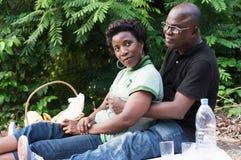 年轻夫妇坐在灌木的一张席子 库存图片