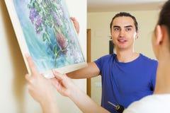 夫妇垂悬的艺术图片 免版税图库摄影