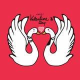 夫妇天鹅恋人亲吻的动画片例证 库存图片