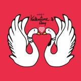 夫妇天鹅恋人亲吻的动画片例证 免版税库存图片