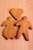 夫妇姜饼 免版税库存照片