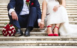 夫妇婚礼年轻人 库存图片