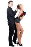 夫妇嬉戏的性感的年轻人 免版税库存照片
