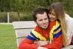 夫妇室外年轻人 库存图片