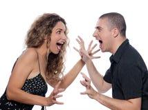 夫妇尖叫纵向的争议 免版税库存图片