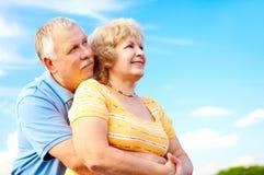 夫妇年长的人爱 免版税库存照片