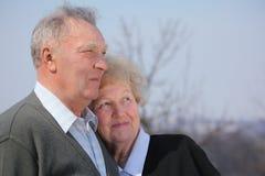夫妇年长的人纵向 免版税库存图片