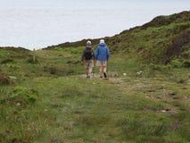 夫妇年长的人走 免版税库存照片