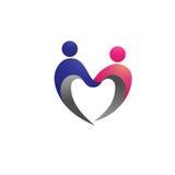 夫妇形状爱商标概念 免版税图库摄影