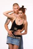 夫妇性感的纹身花刺 免版税图库摄影