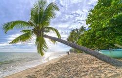 夫妇恋人走到热带海滩的末端 免版税库存照片